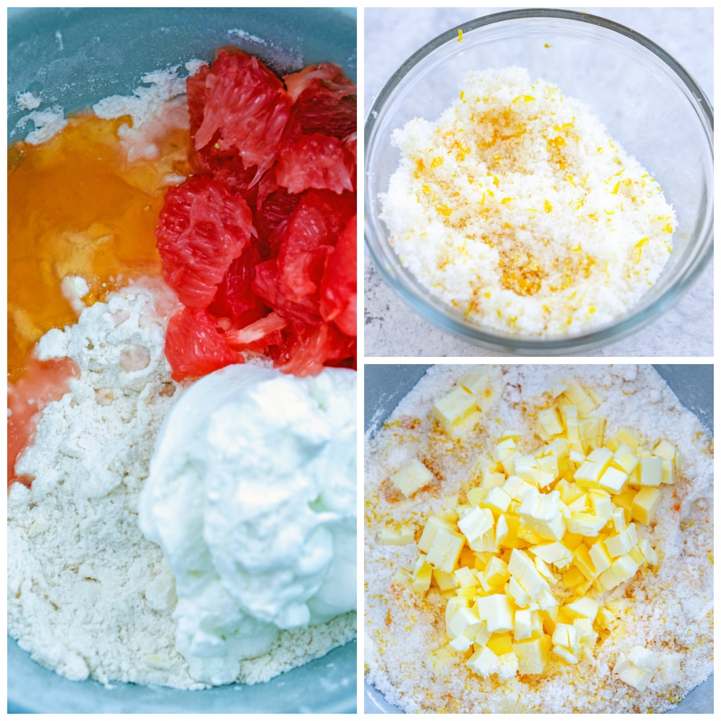 Collage showing process for making grapefruit scones, including a small bowl of sugar and grapefruit zest mixture, butter cubes being cut into flour mixture, and flour mixture with grapefruit segments, honey, and greek yogurt