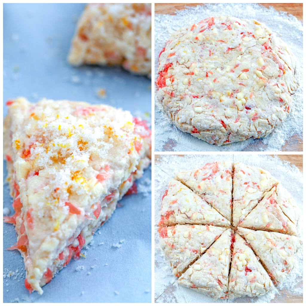 Collage showing process for forming grapefruit scones, including scone dough formed into a round on a floured surface, scone dough cut into 8 segments, and a scone on a baking sheet ready to go in the oven