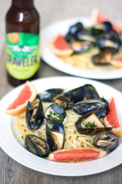 Grapefruit Shandy Mussels with Grapefruit Linguine