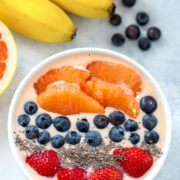 Grapefruit Smoothie Bowl -- Packed with antioxidants and with a smooth and creamy texture, this grapefruit smoothie bowl is the perfect way to start a happy, well-balanced day | wearenotmartha.com #grapefruit #smoothies #smoothiebowl #healthy #breakfast