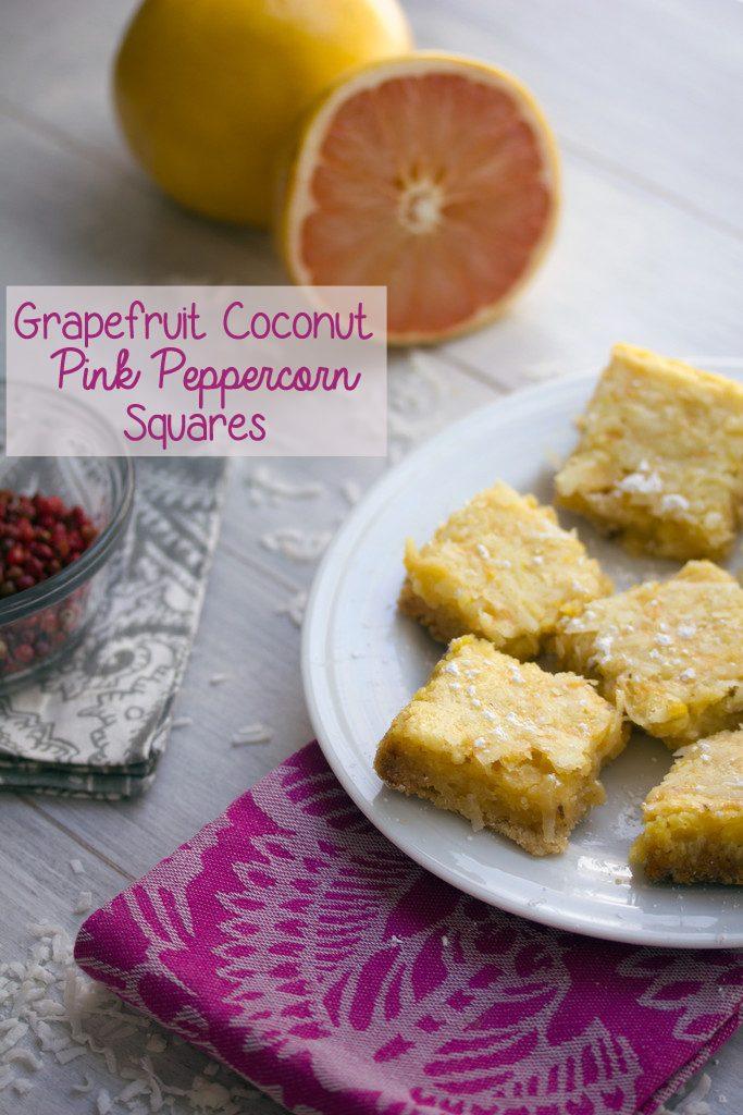 Grapefruit Coconut Pink Peppercorn Squares | wearenotmartha.com