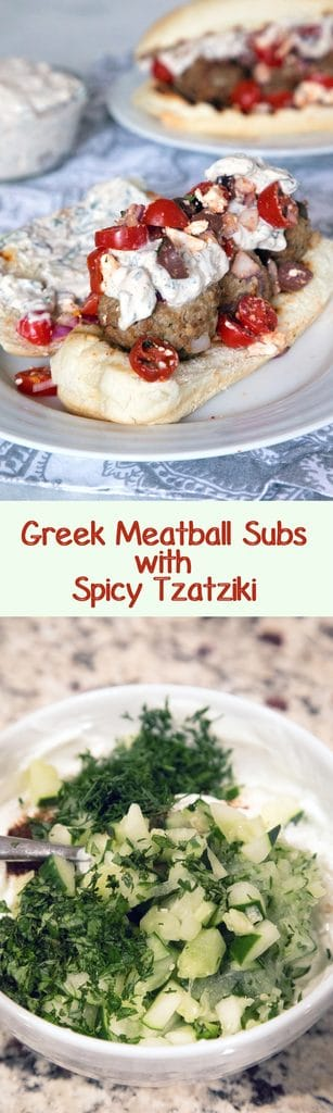 Greek Meatball Subs with Spicy Tzatziki -- These meatball subs will satisfy all of your Greek food cravings. The lamb meatballs are packed with kalamata olives, red onion, feta cheese, and mint and the spicy tzatziki has the perfect kick | wearenotmartha.com