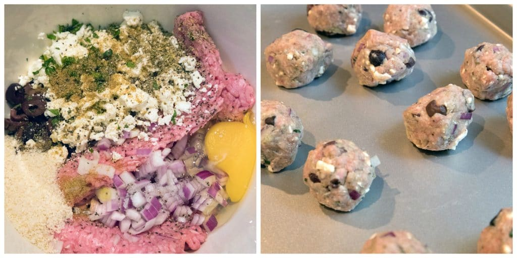 Lamb meatballs are packed with kalamata olives, red onion, feta cheese, and mint | wearenotmartha.com