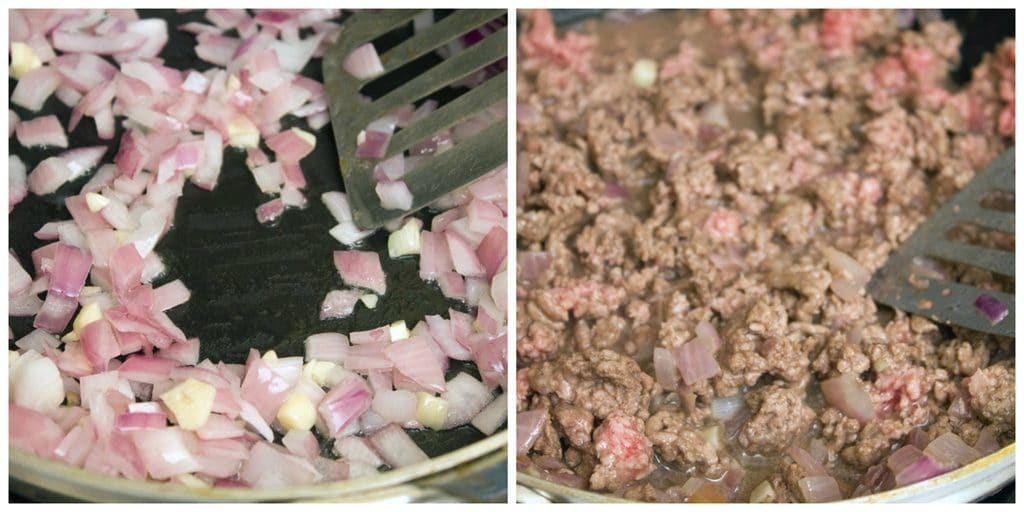 Collage showing onions and garlic in a pan and ground lamb cooking in the pan