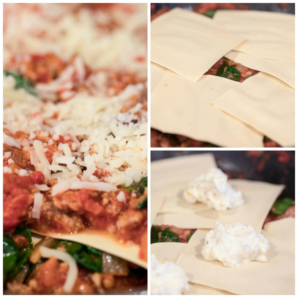 Collage showing the assembly of Greek skillet lasagna, including layer the lamb tomato sauce with lasagna noodles and cheese