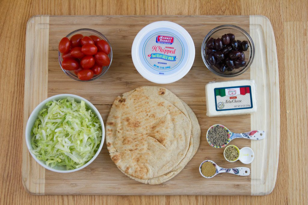 Greek Taco Dip with Black Peppercorn Pita Chips Ingredients | wearenotmartha.com