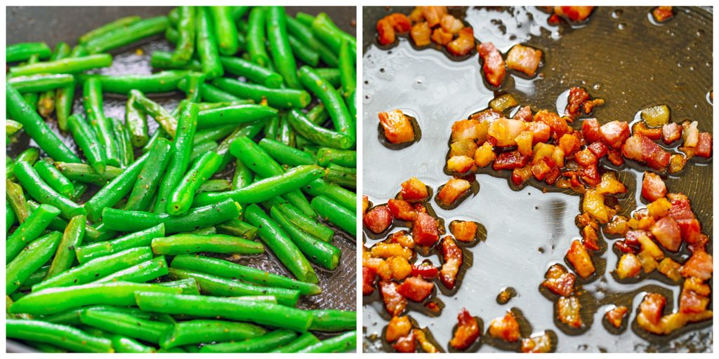 Collage showing process for sautéing green beans and crisping pancetta for spaghetti