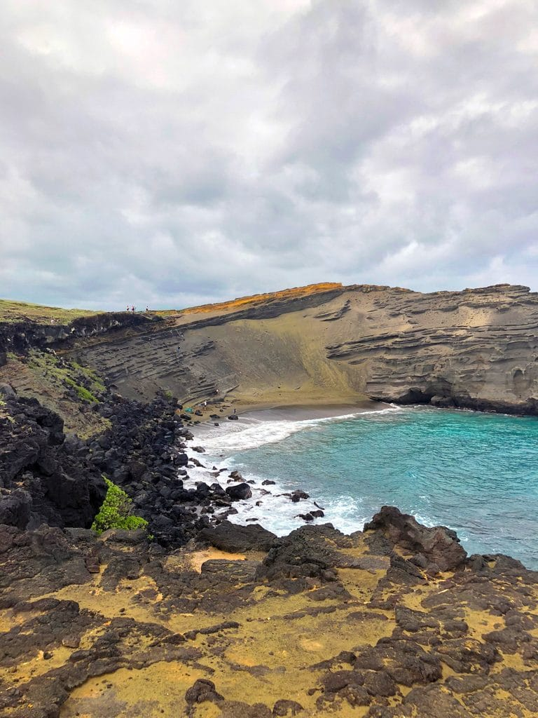 View from the top of Papakolea, the Green Sand Beach in Kona on the Big Island of Hawaii