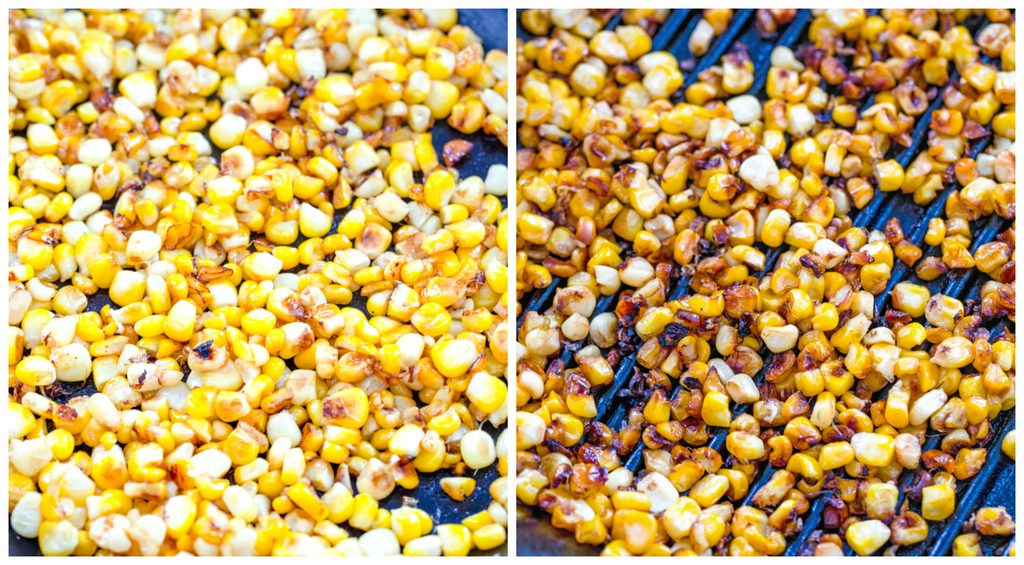 Collage showing process for grilling corn, including corn kernels in a grill pan and corn kernels cooked to golden in grill pan