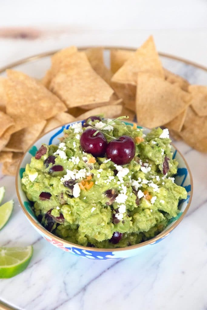 Grilled Guacamole with Cherries and Habaneros -- Grill your avocados before turning them into guacamole! | wearenotmartha.com