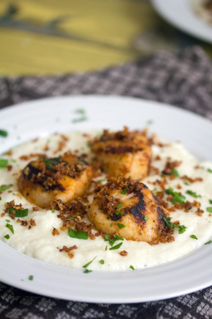 Grilled Scallops and Grits -- True Summer Comfort Food | wearenotmartha.com