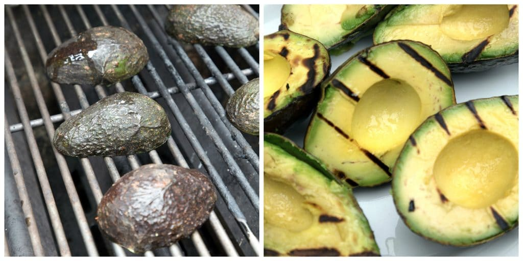 Avocados on the grill before being turned into grilled guacamole | wearenotmartha.com