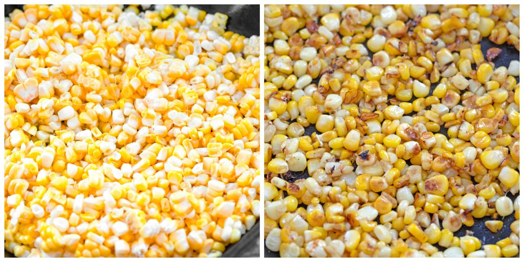 Collage showing process for grilling corn in grill pan, including fresh corn kernels in pan and corn kernels grilled in pan