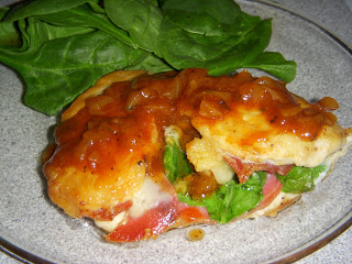 Gruyère, Spinach, and Prosciutto-Stuffed Chicken Breast with Caramelized Shallot Sauce