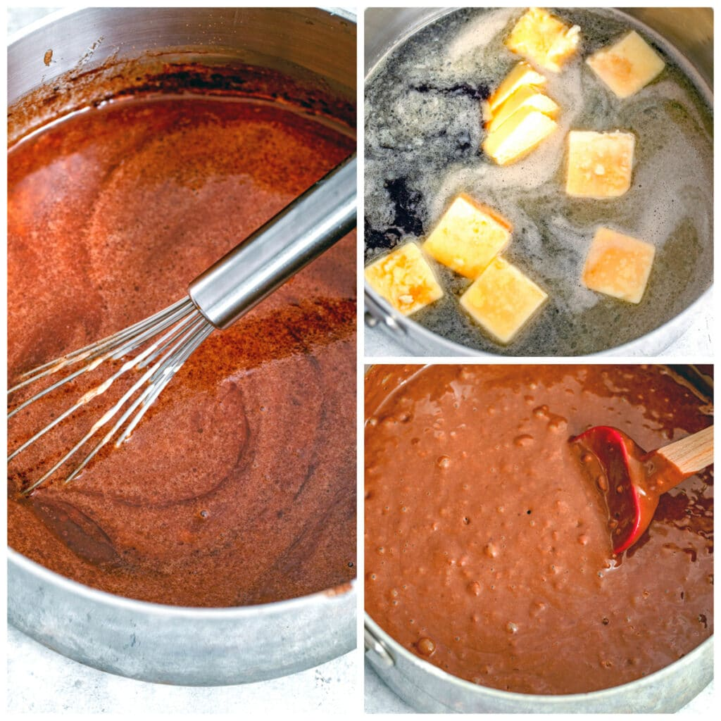 Collage showing process for making chocolate beer cupcakes, including butter and Guinness melting in saucepan, chocolate and sugar mixed into pan, and finished batter in pan.