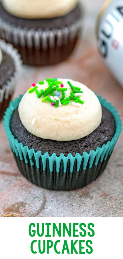 Guinness Cupcakes -- Beer in cupcakes? These Guinness Cupcakes have Guinness in both the cupcake and the frosting and are absolutely delicious. They're the perfect St. Patrick's Day dessert, but can be enjoyed any time of year | wearenotmartha.com #guinness #cupcakes #beer #guinnesscupcakes #stpatricksday