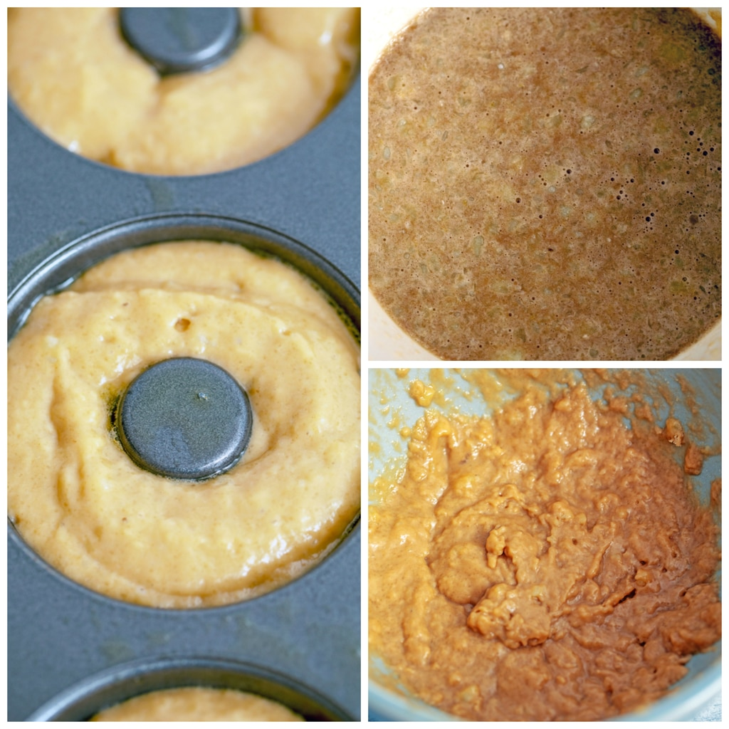 Collage showing process for making baked Guinness doughnuts, including wet ingredients in a bowl, wet and dry ingredients combined in a bowl, and batter in a doughnut pan