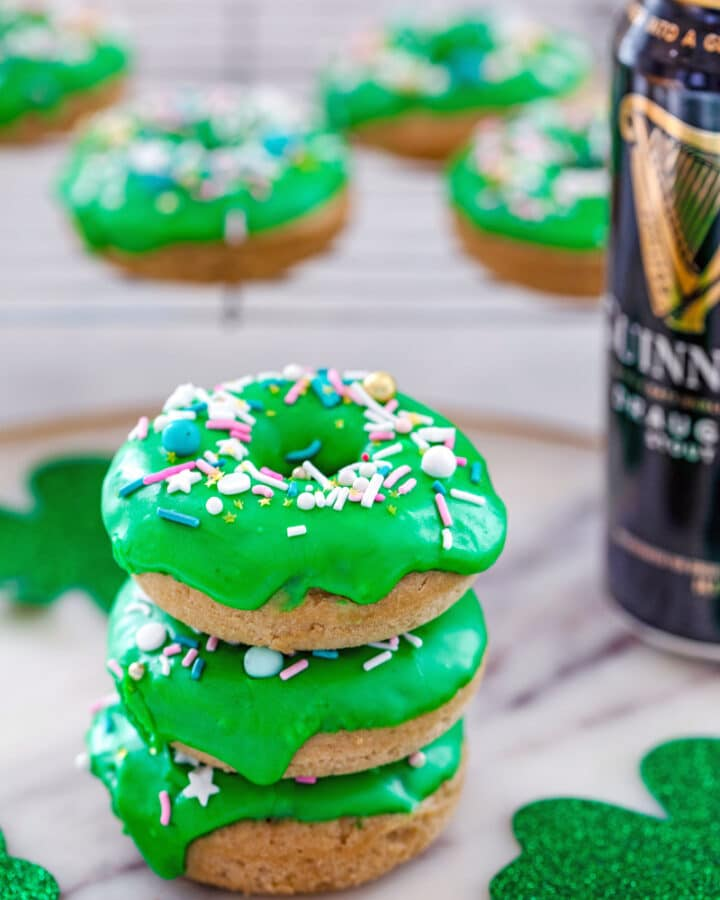 Guinness Doughnuts with Irish Whiskey Frosting -- These Guinness Doughnuts with Irish Whiskey Frosting are incredibly moist and perfectly potent, making for a superb St. Patrick's Day celebration | wearenotmartha.com