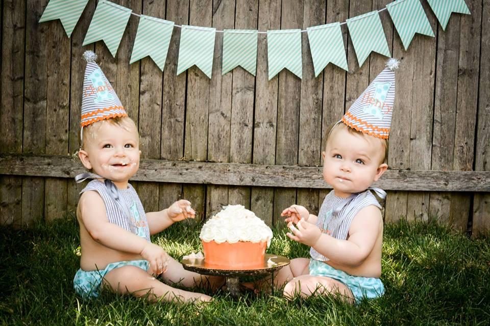 Twin Boys First Birthday Photo Shoot | wearenotmartha.com