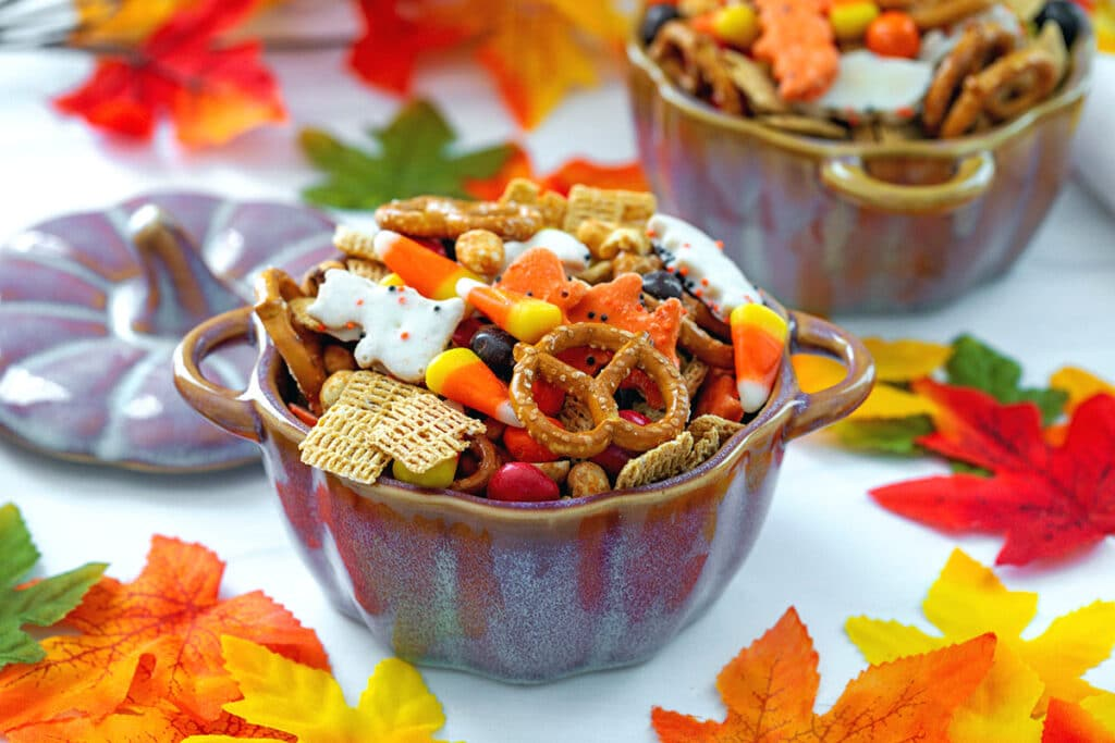 Head-on landscape view of a ceramic pumpkin full of Halloween trail mix with brightly colored fall leaves all around