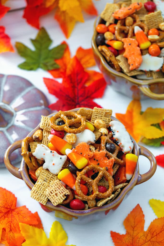 Overhead view of a pumpkin bowl of Halloween trail mix with pretzels, animal crackers, candy corn, M&Ms, peanuts, and cereal with fall leaves all around