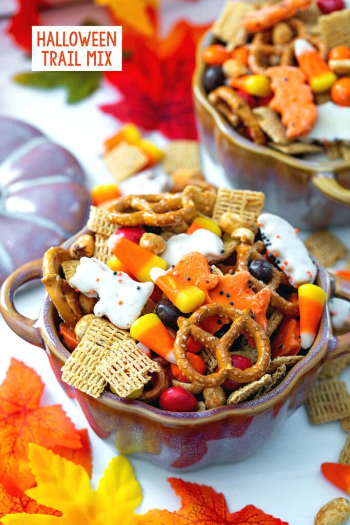 Overhead view of a pumpkin bowl of Halloween trail mix with pretzels, candy corn, cereal, animal crackers, and M&Ms with a second bowl and fall leaves in background and recipe title at top