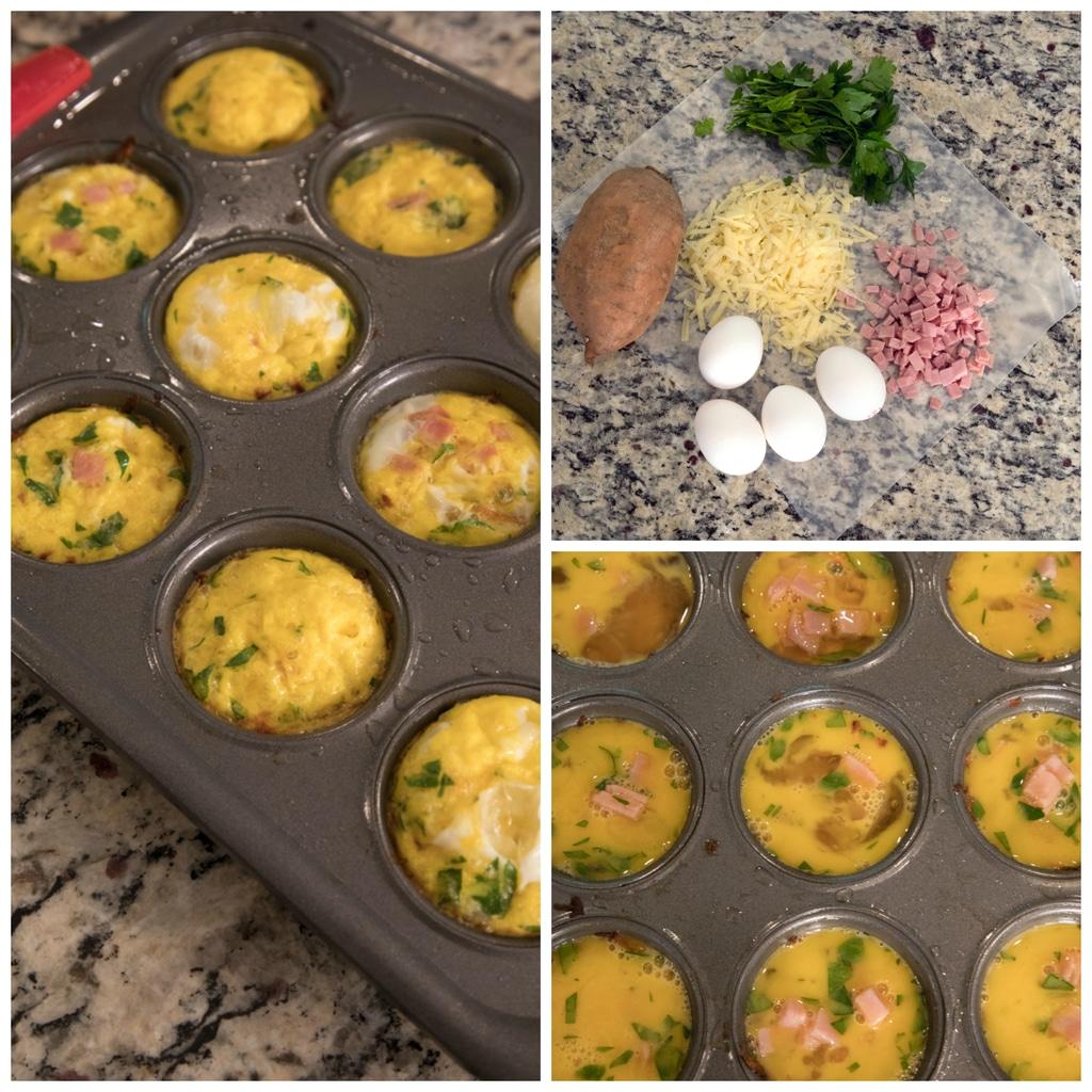 Making Ham and Cheese Sweet Potato Egg Cups for Dogs | wearenotmartha.com