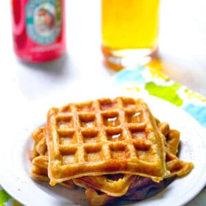 Hard Cider Waffles -- Hard Cider for breakfast? It's totally acceptable with these Hard Cider Waffles makes with cider in both the waffle batter and the maple syrup. Happy fall! | wearenotmartha.com