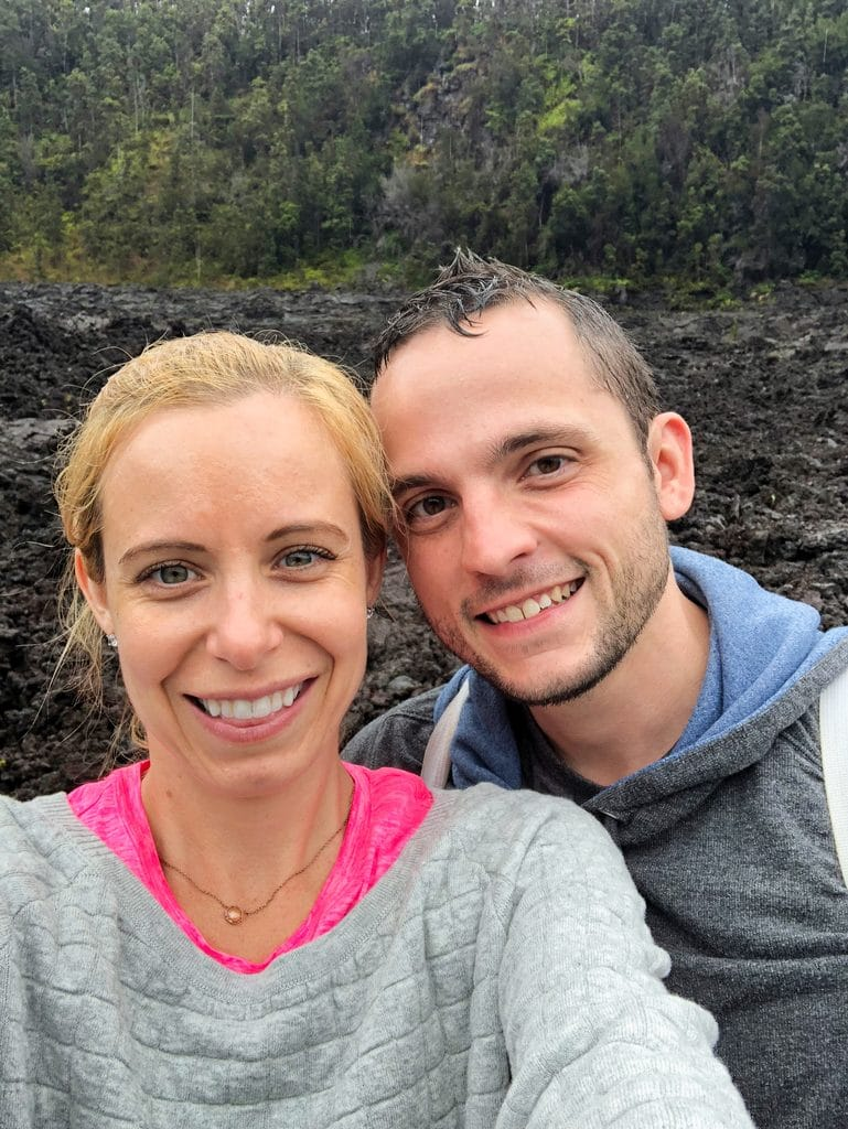 Sues and Chris posing on the crater while hiking the Kīlauea Iki Trail at Volcano National Park on the Big Island of Hawaii