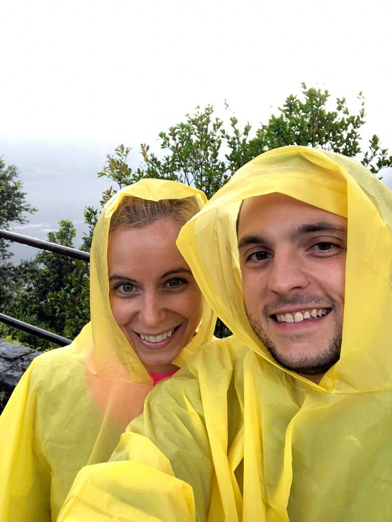Sues and Chris in ponchos about to set out on the Kīlauea Iki Trail at Volcano National Park on the Big Island of Hawaii