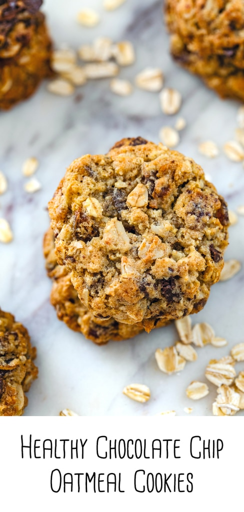 Healthy Chocolate Chip Oatmeal Cookies -- These Healthy Chocolate Chip Oatmeal Cookies are packed with oats, whole wheat flour, dark chocolate, and dates and are some of the most delicious cookies I've ever had! | wearenotmartha.com #healthycookies #oatmealcookies #cookies