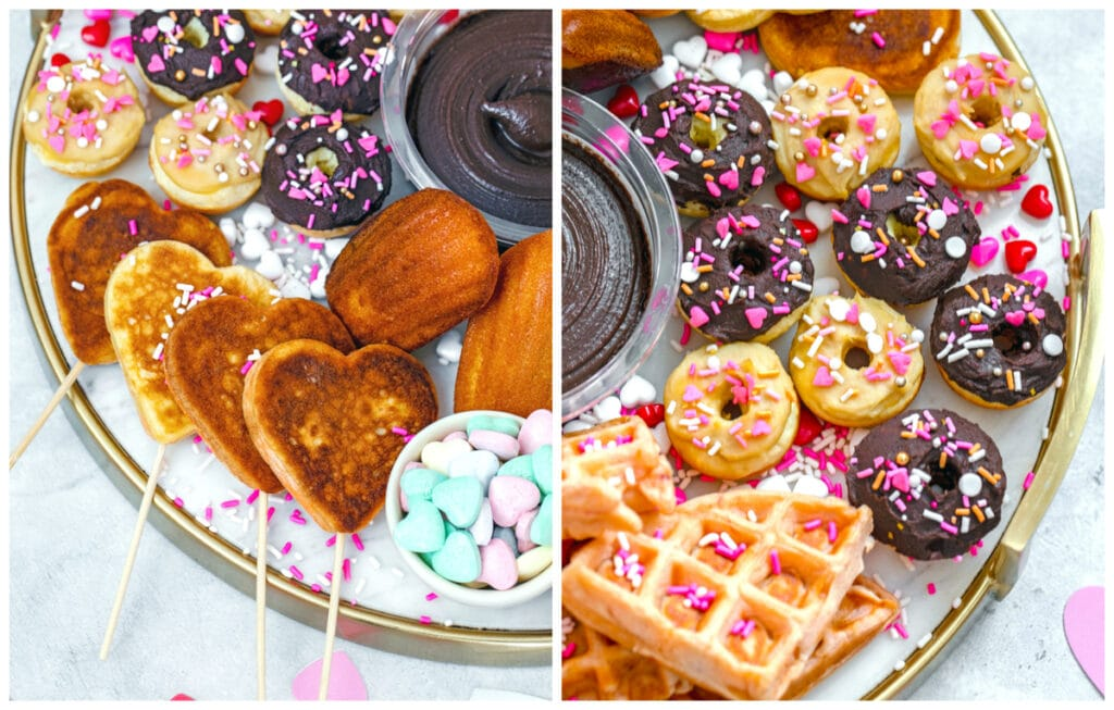 Overhead closeup view of heart-shaped pancakes on skewers and mini donuts with hummus frosting