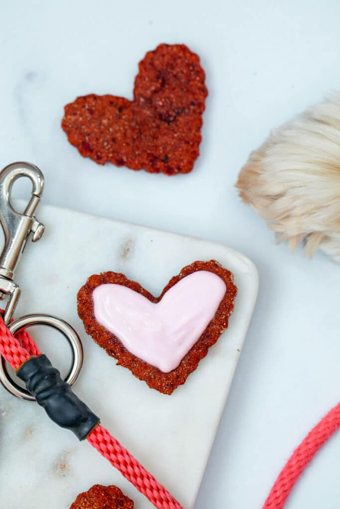 Heart-shaped beet cookies for dogs on marble tray with leash and dog paw in background