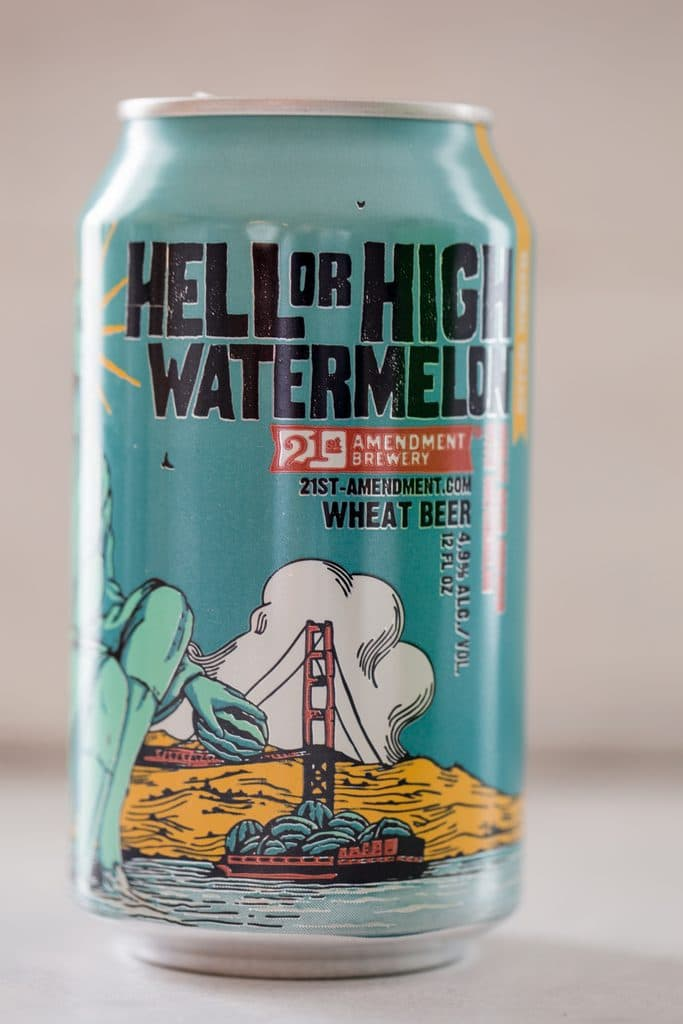 Can of 21st Amendment's Hell or High Watermelon beer