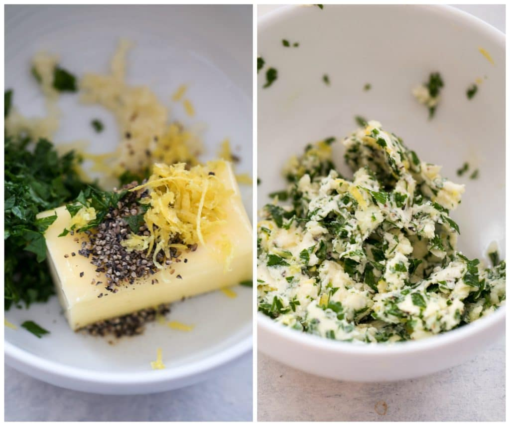 Collage showing making of herbed butter- one photo with butter, lemon zest, pepper, and parsley in bowl and another photo with all the ingredients mixed together in bowl