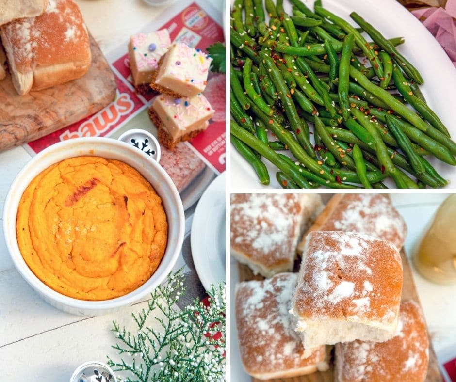 Collage showing sweet potato soufflé, green beans, and dinner rolls