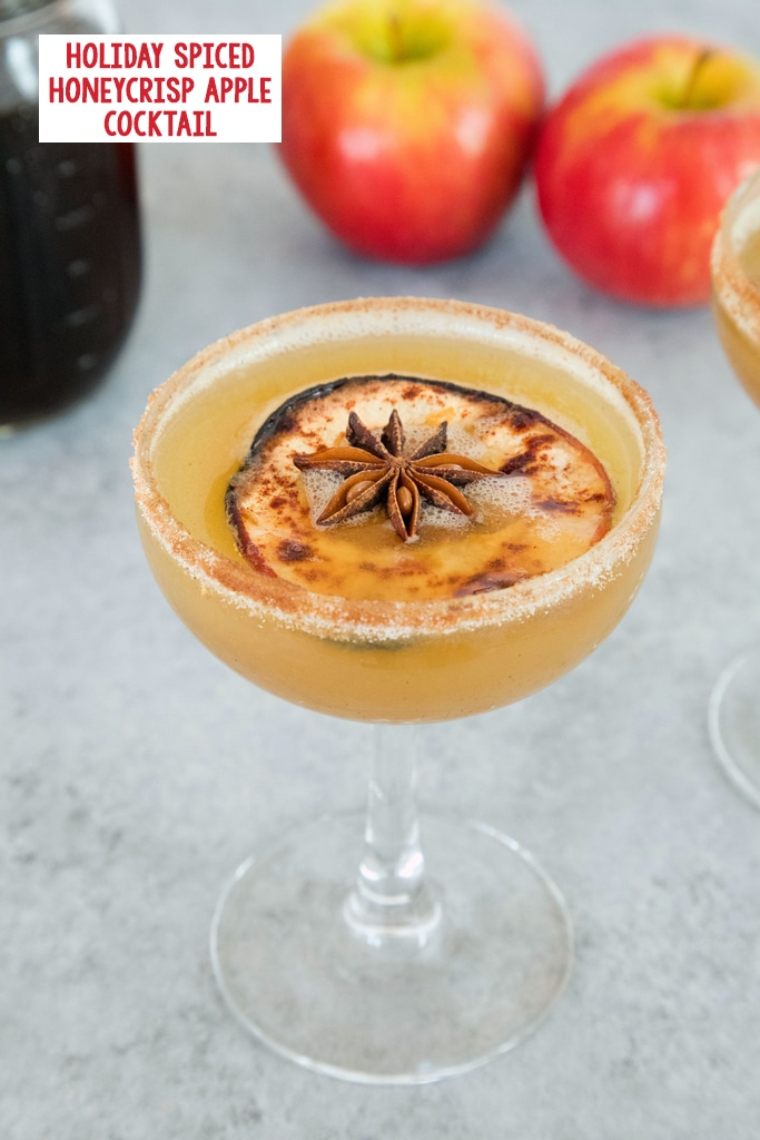 View of a holiday spiced honeycrisp apple cocktail in a coup glass with a dried apple and star anise garnish with jar of simple syrup and apples in the background with recipe title at top