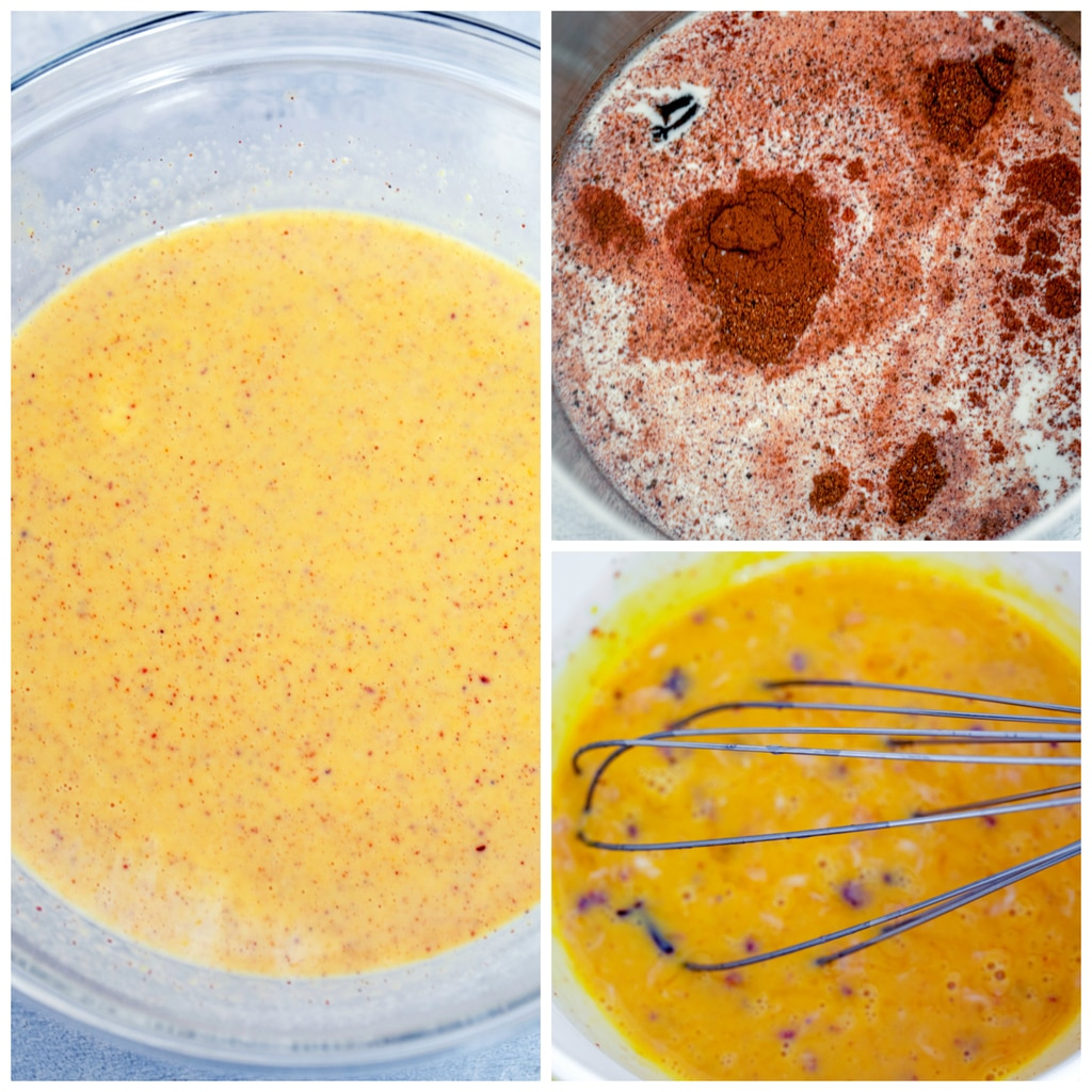 Collage showing process for making eggnog ice cream, including spices seeping in milk, eggs being tempered with hot milk and cream, and eggnog ice cream base chilling