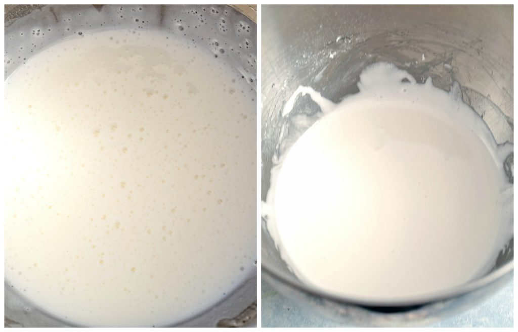 Collage showing process for making homemade marshmallow fluff, including ingredients in mixing bowl and homemade fluff in bowl