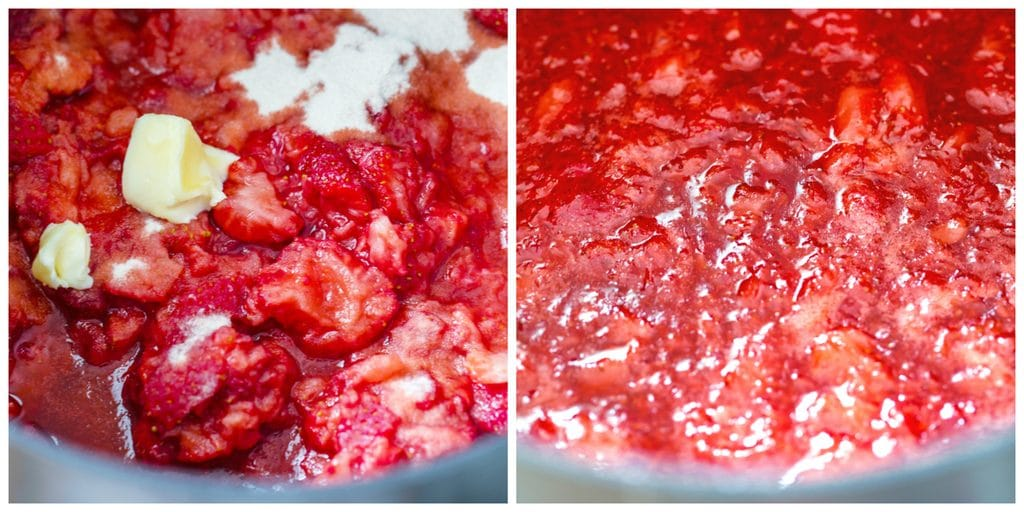 Collage showing process for making homemade strawberry jam, including mashed strawberries in pot with butter and pectin and jam boiling in pot