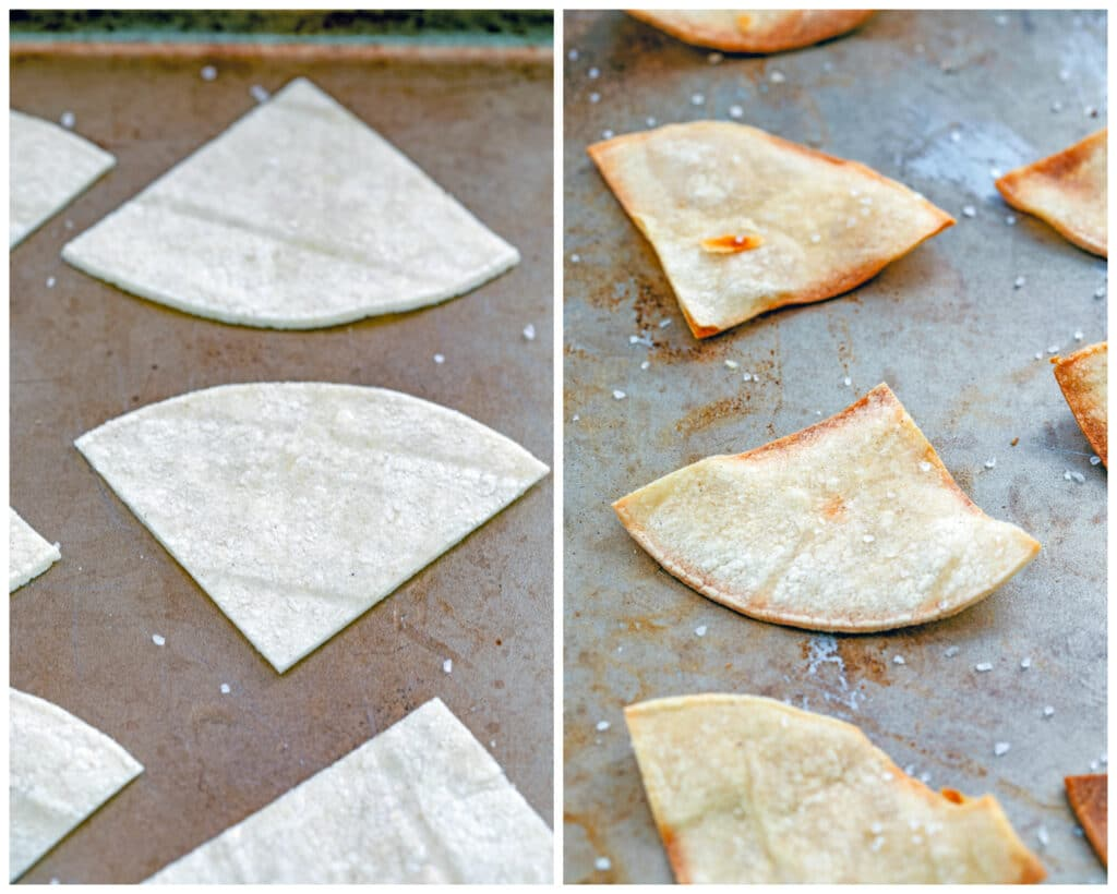 Collage showing process for making homemade corn tortilla chips, including tortillas cut into triangles on baking sheet and chips baked just out of the oven