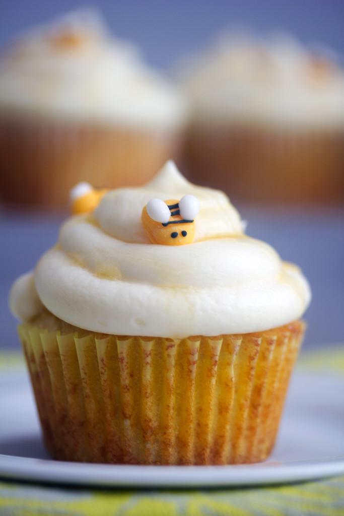 Honey Cupcakes with White Chocolate Honey Ganache