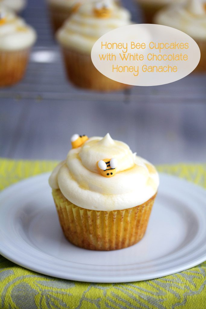 Honey Bee Cupcakes with White Chocolate Honey Ganache -- These white chocolate and honey cupcakes will be the buzz of any warm weather celebration! | wearenotmartha.com