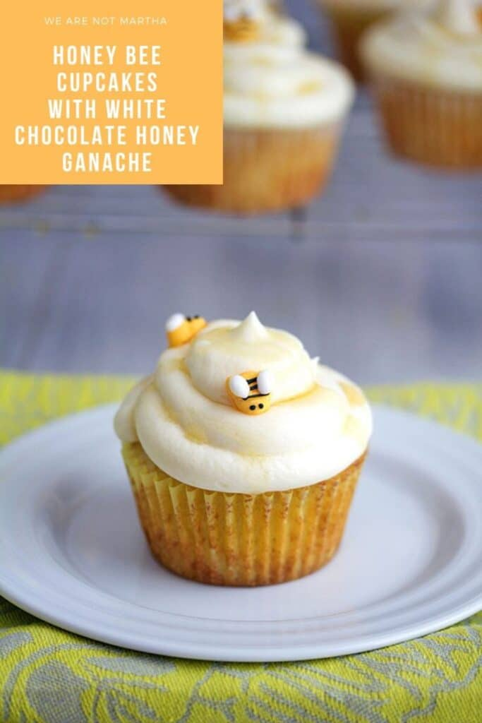 Honey Bee Cupcakes with White Chocolate Honey Ganache -- These white chocolate and honey cupcakes will be the buzz of any warm weather celebration! | wearenotmartha.com #cupcakes #bees #honey #honeybees #whitechocolate