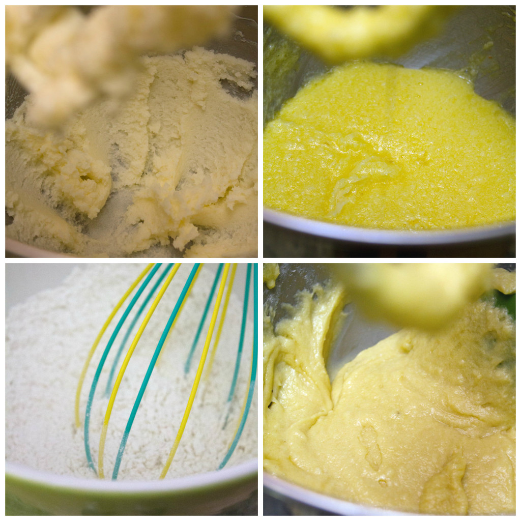 Collage showing process for making honey cupcake batter, including creaming sugar and butter, whisking flour, and combining dry ingredients with wet ingredients