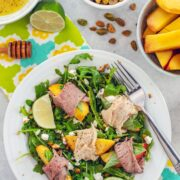 Honey Lime Peach Salad with Roast Beef and Turkey -- For those summer nights when it's too hot to cook, but you're not willing to sacrifice taste, try this summer peach salad. You can prep it in minutes and the result is a light and refreshing summer salad packed with protein.... No oven necessary   wearenotmartha.com