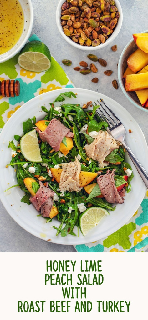 Honey Lime Peach Salad with Roast Beef and Turkey -- For those summer nights when it's too hot to cook, but you're not willing to sacrifice taste, try this summer peach salad. You can prep it in minutes and the result is a light and refreshing summer salad packed with protein.... No oven necessary | wearenotmartha.com #salad #peaches #summer #delimeat