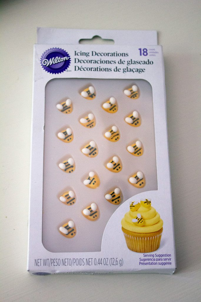 Bee icing decorations from Wilton in package