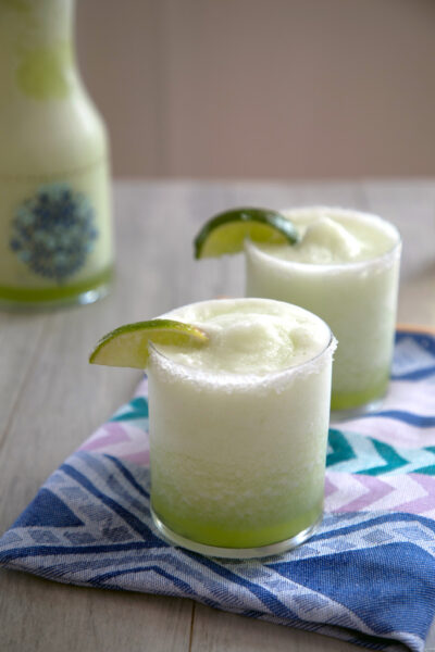 Honeydew Ginger Frozen Margarita -- This unique frozen cocktail is perfect for any time of year! | wearenotmartha.com