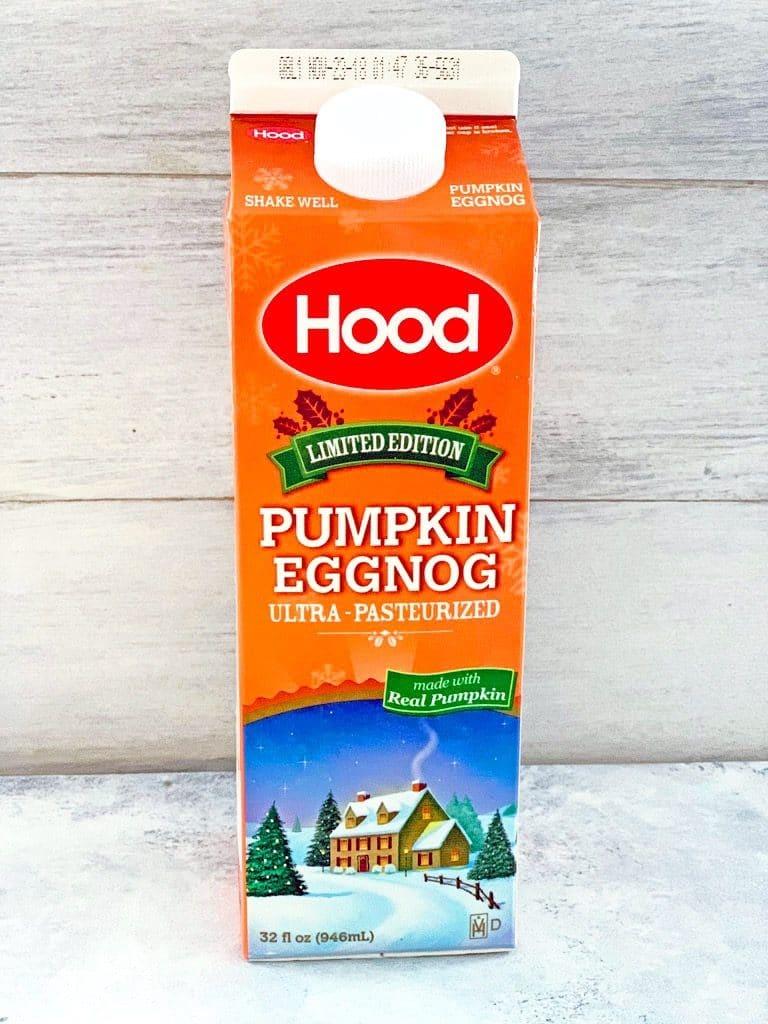 Head-on view of carton of Hood Pumpkin Eggnog